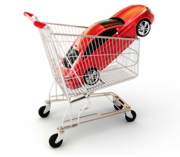 car in shopping trolley