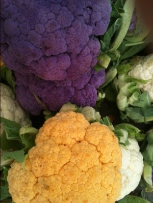 The orange one is slightly sweeter than a normal cauliflower, while the purple one is loaded with wonderful antioxidants